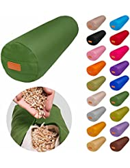 Cojín redondo para yoga »Krishna« relleno de cáscara de espelta (cultivo biológico) / Longitud aprox. 68 cm y diámetro aprox. 22 cm - Ideal para practicar yoga / Cojín zafu / Cojín de meditación / Base para meditar. Material: 100% algodón - verde claro