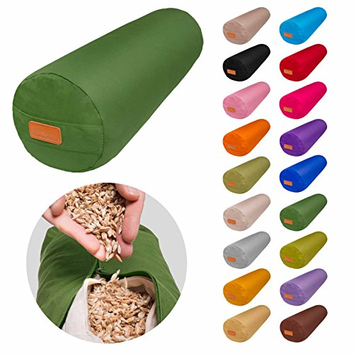 Rundes Yoga Bolster »Krishna« mit Bio-Dinkelspelz (kbA) / Länge ca 68cm & Durchmesser ca 22cm - ideal als Yogakissen / Zafukissen / Meditationskissen / Meditiationsunterlage - hoher Sitz-Komfort dank Dinkelspelzfüllung / maschinenwaschbar & hautfreundlich. Ideale Hilfsmittel / Accessoire (Sitzkissen) für längere Meditationen. Material : 100% Baumwolle - schwarz (Bio-yoga)