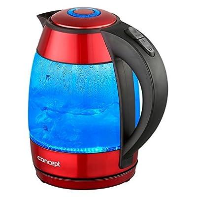 CONCEPT électroménager RK4053 Bouilloire verre et inox rouge, 1,8 litre, eclairage led, 2200 W, filtre anticalcaire amovible