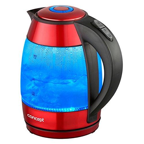CONCEPT Hausgeräte RK4053 CONCEPT Hausgeräte RK4053 Edelstahl-Glas-Wasserkocher inklusiv LED-Innenbeleuchtung, 1,8 L, 2200 W, Rot