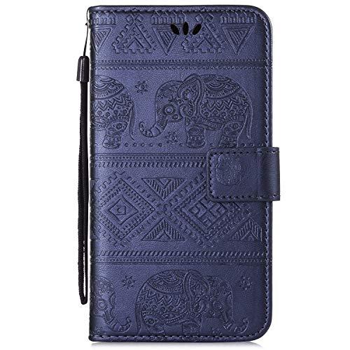 Ukayfe Custodia Cover Compatibile con Samsung Galaxy S10e,PU Pelle Flip Case con Elefante Modello con [Kickstand] [Slot per Schede] [Chiusura Magnetica] Antiurto Protettiva Cover-Blu Scuro