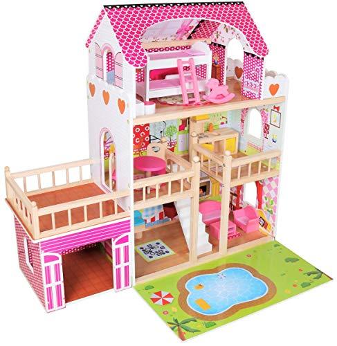 Dodo Toys Grande Casa in Legno per Bambole 90 x 30 x 90 cm, 3 Piani con Terrazza, Garage, Piscina e Illuminazione a LED, CE (Rosa)