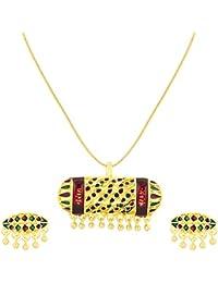 ShoStopper Antique Gold Plated Meenakari Pendant Set