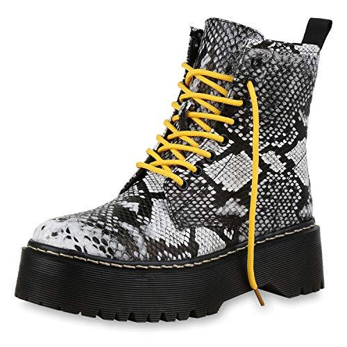 SCARPE VITA Damen Stiefeletten Plateau Boots Leicht Gefütterte Outdoor Schuhe 174264 Schwarz Prints 40