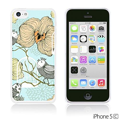 OBiDi - Cartoon Pattern Hardback Case / Housse pour Apple iPhone 5C - Yellow Bear Vintage Flowers With Birds