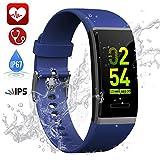 TwobeFit Pulsera Actividad, Pulsera Inteligente Pantalla Color HR con Pulsómetro Pulsera Deportiva y Monitor de Sueño de Actividad para Mujer Hombre Impermeable IP67 Reloj Fitness Podómetro(Blue)
