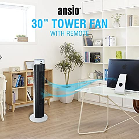 ANSIO-Ventilador-de-torre-oscilante-de-30-con-control-remoto-Cable-largo-de-2-m-Garanta-de-24-meses-blanco-y-negro-bateras-no-incluidas
