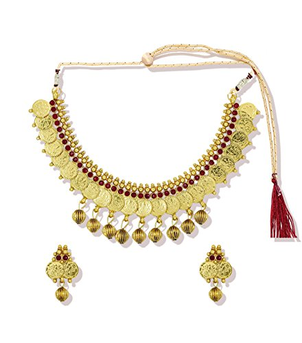 Zaveri Pearls Godess Laksmhi Temple Necklace Set For Women - ZPFK5330  available at amazon for Rs.190
