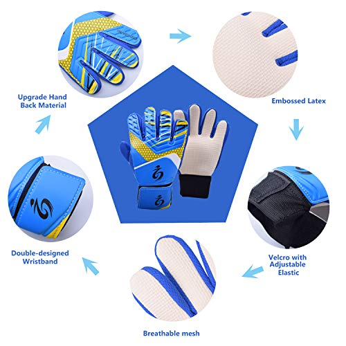 Sportout Kids Junior Goalkeeper Gloves  Boys and Girls Training Gloves with Double Wrist Protection and Non-slip Wear Resistant Latex Material to Give Splendid Protection to Prevent Injuries  5  Blue