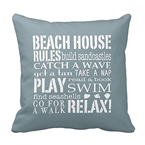 Decorative Square Pillow Covers Cushion Case Beach House Rules in Denim Blue Square Pillow Case 16X16 Inch