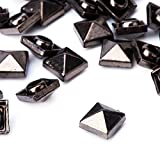 weddecor Gold quadratisch Pyramid Nieten Nieten – Für Leder Craft, DIY Projekte, Taschen, Gürtel, Schuh Deko Kleidung, Jeans (100 Stück), metall, gunmetal, 12 mm