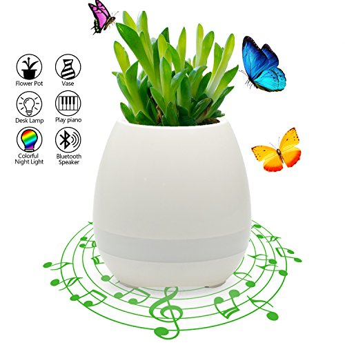 Musik Blumentopf Smart Wireless Bluetooth Lautsprecher Touch Klavier Musik spielen WZMIRAI Indoor Plant Pot mit Multi Color LED Mood Light