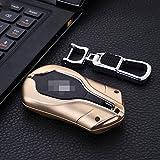 [m. Jvisun] auto telecomando caso KEYLESS portachiavi pelle per Maserati Levante Quattroporte Ghibli motore auto start stop Key, Premium in alluminio aeronautico protettiva con portachiavi, Gold
