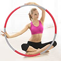 Cusfull Foam Padded Weighted Fitness Hula Hoop Detachable 1KG (2.2lbs) for Adults Kids - Rose Grey