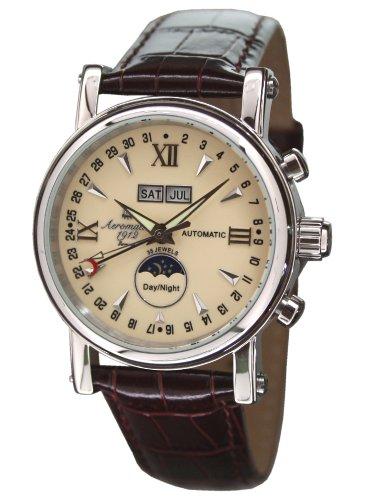 Aeromatic 1912 A1406 Aeromatic A1406 - Reloj , correa de cuero color marrón