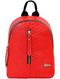 Goodsatar Mochilas Mujer Cuero de la PU Mochilas Bolsa de viaje (rojo, talla única)