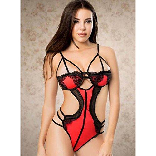 DuuoZy Frauen Sexy Dessous Teddy Halter Spitze Bodysuit , red , (Dancing Kostüme Dolls)
