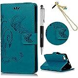 BQ Aquaris M5 Funda, Lanveni Flip Case Cover de cuero PU Piel para BQ Aquaris M5 con cierre magnético y función de soporte - Patrón mariposa impresa Diseño (Azul) + lápiz capacitivo + Enchufe anti del polvo