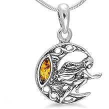 Colgante Bruja y luna Amuleto de plata de ley antigüedad Style Bruja con ámbar joyas Fantasy # B1294