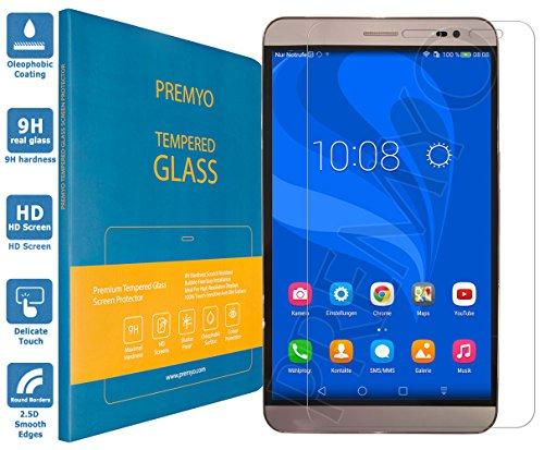 PREMYO Panzerglas Schutzglas Bildschirmschutzfolie Folie kompatibel für Huawei MediaPad X2 7.0 Blasenfrei HD-Klar 9H 2,5D Gegen Kratzer Fingerabdrücke