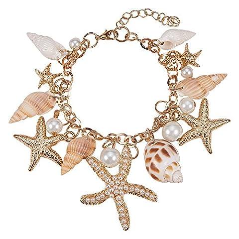 PandaHall Elite Ozean-Art Multi Seestern Sea Star Seestern Conch Shell Perlen Kette Armband Armkette