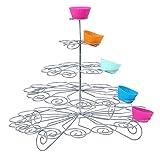 Trimming Shop 3 Ebenen Metall Törtchen Ständer - 13 Mini Kuchen Display Halter - für Partys und Anlässe - Silbern - 4