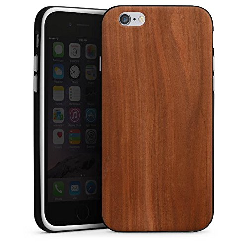 Apple iPhone 6s Hülle Premium Case Cover Kastanie Holz Look Silikon Case schwarz / weiß