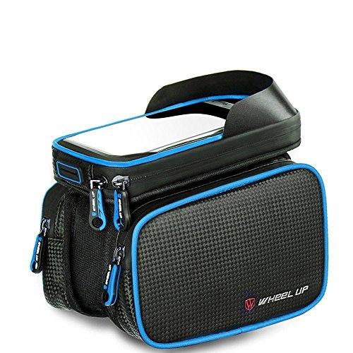 PINKAH Wasserdichtes/reflektierendes Design Bike Front Beam Package mit TPU Touch Screen für Handy 6.2 Zoll oder unten Schwarz/Blau