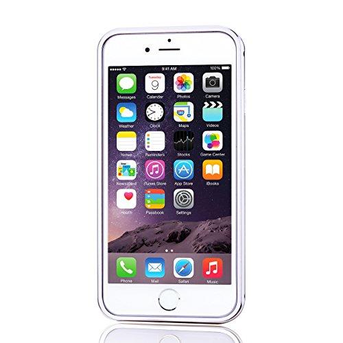 SMARTLEGEND Rigida Ultra Slim Cover Case per Apple iPhone 6/6S Plus( 5.5 ) ,Dura del PC Torna Shock Aorbimento Custodia,Alluminio in Metallo Specchio Back Case Cellulare Protettore Struttura Frame Pr Argento