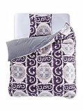 DecoKing 97458 155x220 cm Bettwäsche mit 1 Kissenbezug 80x80 Renforcé Bettwäscheset Bettbezüge 100% Baumwolle Bettwäschegarnituren Reißverschluss Diamond Collection Walther creme beige violett pflaume schwarz weiß