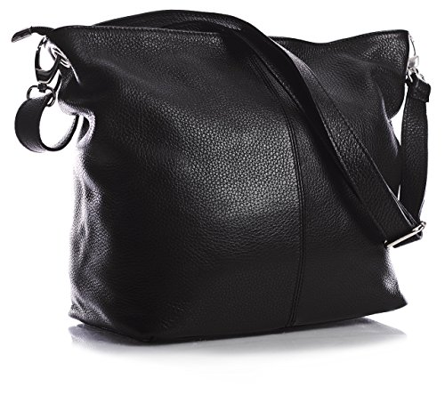 Big Handbag Shop Sac à main en cuir italien véritable Medium Hobo Sac à bandoulière - Noir - noir,
