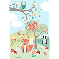 """Riva Paoletti Kids Woodland Wall Art Mural - Green - Adaptable Wall Paste Application - Paste Included - 158 x 232cm (62"""" x 91"""" inches) - Designed in the UK"""
