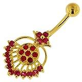 3 Micron 18K Balken gelb Gold vergoldet rot CZ Stein Stammes-Royal Design Sterling Silber Bauch Piercing