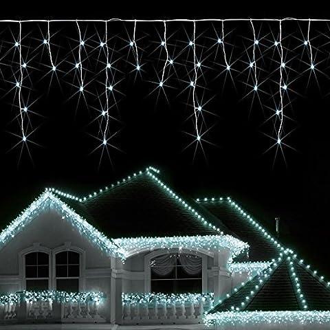 Blumfeldt Dreamhouse LED Lichterkette Außen Weihnachtsbeleuchtung Hausbeleuctung (8m, 160 LEDs, Eisregen-Design)