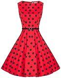 Zarlena Damen Vintage Rockabilly Kleid Petticoat Cocktailkleid 2XL rot/Schwarze Dots 1437