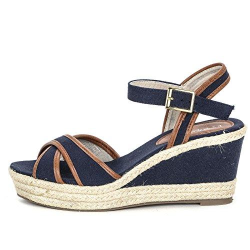 PRENDIMI by Scarpe&Scarpe - Leinen-Schuhe mit Keilabsatz und Überkreuz-Detail Blau