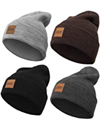 Urban Classics Leather Patch Long Beanie, Multiple Colours (One Size Heather Brown)