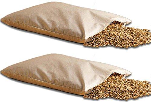 Natur-shop Doppelpackung Bio Dinkelkissen 40 * 60cm mit Reißverschluß - Dinkelkopfkissen Dinkelspelzkissen mit Dinkelspelz befüllt