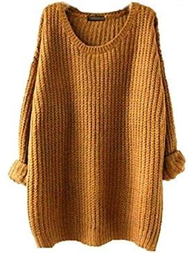 Pullover Largo Mujer Elegantes Moda Pullover Punto Otoño Invierno Cuello Redondo Manga Larga Color Sólido Anchos...
