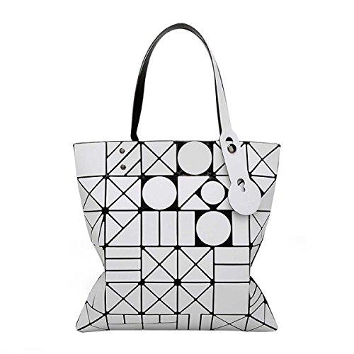 Frauen Paket Geometrische Umhängetasche Handtasche White
