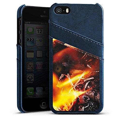 Apple iPhone 5 Housse Outdoor Étui militaire Coque Feu Feu Démon Étui en cuir bleu marine