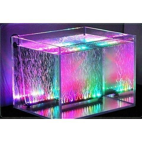 Xcellent Global Luci con Bolle d'Aria per Acquario che Cambiano Colore 18 LED 31 cm Sommergibili Impermeabili 16 Colori con Telecomando I-LD074E