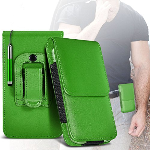 (Black) Case for iPhone 7 Mobile Phone Case (PU) Leather Belt Clip Pouch Case Flip Cover Holster With Magnetic Button + car charger iPhone 7 case by i-Tronixs Belt Flip+ stylus pen (Green)
