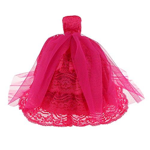 Multistrato Rosa-rosso Abito Abito Da Sposa In Pizzo Partito Per La Bambola Barbie