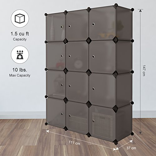 LANGRIA Armario Modular 12 Cubos con Puertas Separador Estanterías por Módulos Armario Zapatero de Almacenaje Para Ropa Zapatos Juguetes Material Escolar Accesorios (12 Cubos, Marrón Transparente)