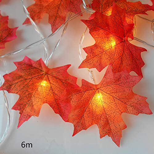 catyrre Halloween Dekoration Atmosphäre Doppelseitig Ahornblatt String Fairy Wreath String Licht Batteriebetriebene Halloween Garden Home Weihnachtsbaum Dekoration (Rose Fairy Kostüm)
