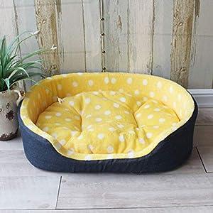 Hioowiu Punkt-Haustier-Bett-Art- und Weisegröße warme Hundehütte-Haus-Bequeme Matten-Qualitäts-großes Hundebett Gelber Punkt_XL