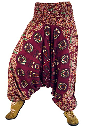 GURU-SHOP Pantalones Afganos, Pantalones Harem, Pantalones Harem, Pantalones Holgados, Pantalones Aladdin, Rojo Vino, Viscosa, Tamaño:38, Bloomers y Harén