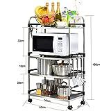 Willsego Lagerregal Küchenregal Mikrowelle Stand mit Hängenden Haken für Küche Lagerung Küche Lagerregale (Farbe : -, Größe : -)