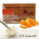 Eselsmilchseife Orangen Seife mit 21 % Eselsmilch, Olivenöl und Orange 1er Pack (1 x 100 g) - Haut...